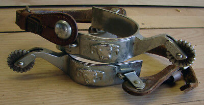VINTAGE KELLY MARKED COWBOY WESTERN RODEO SPURS w/SILVER OVERLAY & TEX TAN STRAP