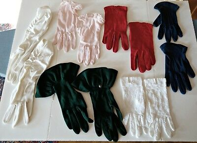 40s 50s Vintage Lot 6 Pairs Gloves Green White Lace Crocheted Pink Red Navy Blue