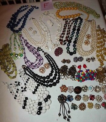 Huge Lot F Of Vintage Beaded Jewelry Necklaces, Earrings & More *lqqk*