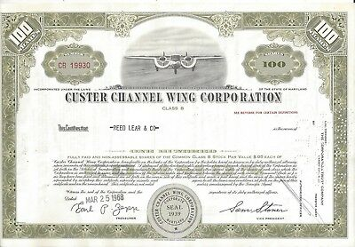 Stk-Custer Channel Wing Corp. 1968 Strange ariplane 100 sh Olive See image #5