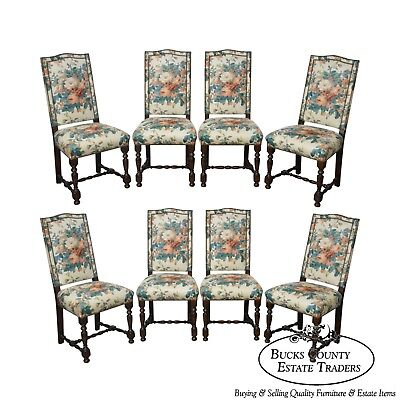 Louis XVI Style Set of 8 Custom French Upholstered Dining Chairs for Blair House