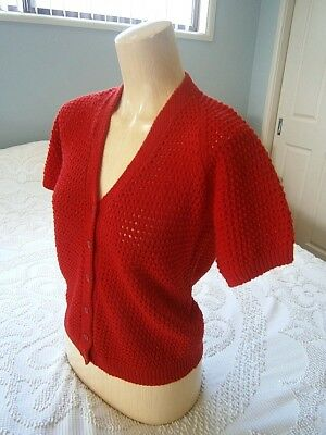 Vintage 50s 60s Hand Knitted Red V Neck Pinup Cardigan Sweater Jumper!! Retro