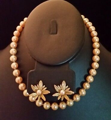 VTG Faux Pearl Necklace Rhinestone Clasp Gold Cream + Genuine Pearl Earrings