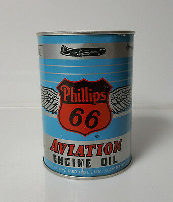 Vintage Oil Can PHILLIPS 66 AVIATION MOTOR OIL Near Mint FULL! Metal Can