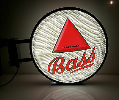 Bass Beer Sign Lights up Flange style double sided  Bar Anheuser Busch Coors