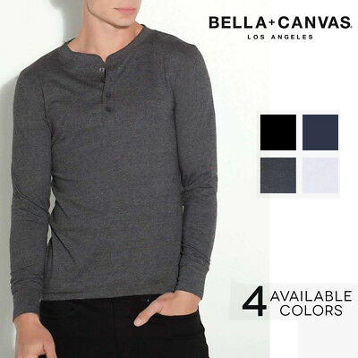 Bella Canvas T-Shirt 3150 Mens Henley Longsleeve Long Sleeve Cotton Jersey