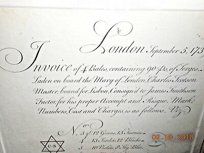 1739 Bill Of Lading Aboard The Mary Of London Ship Bound For Lisbon Pen Ink
