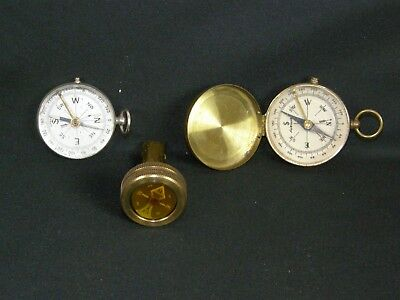 Lot of 3 Vintage Brass German & West Germany Field Compasses Camping Hiking