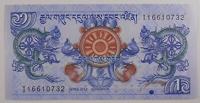 2013 Bhutan 1 Ngultrum Banknote Uncirculated Currency
