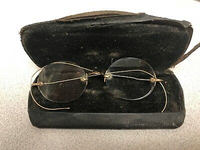 ANTIQUE Vintage GOLD Filled WIRE RIM GLASSES with Case