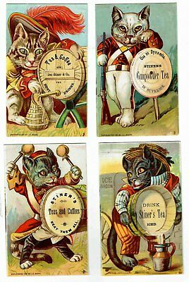 Set of 4 - 1881 Victorian Adv Cards - CATS In Clothes - STINER'S TEA - JC Beard