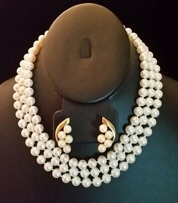 VTG Faux Pearl Necklace Multi 3 Strand Knotted Glass 8mm Gold Plated + Earrings