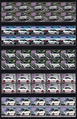 2009 Fiat Abarth 500 Set Of 5 Mint Stamp Strips