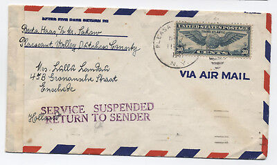 1941 airmail cover Pleasant Valley NY to Netherlands return to sender [y1691]
