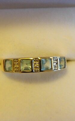9ct Yellow Gold Solid Diamond and Topaz ring PRICE REDUCED!