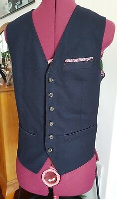 Ted Baker Cool Navy Quality Wool Boy's Vest Size 1 (Up To 13Yrs Approx.) Unique!