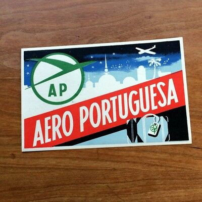 Vintage Air Portugal airline luggage label -  sticker