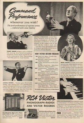 1937 RCA Victor Records Phonograph~Radio Record Player~Tommy Dorsey~Heifetz Ad
