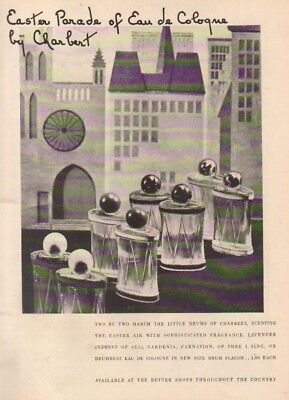 1937 Charbert Gardenia~Carnation~Of Thee I Sing Men's Cologne Drum Flacon Ad