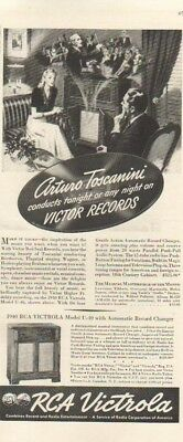 1940 RCA Victrola Model U-40~Victor Red Seal Records~Arturo Toscanini Vintage Ad