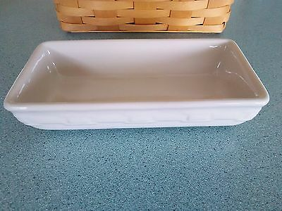 Longaberger Pottery Rectangle Bowl snack dish Ivory NEW in box