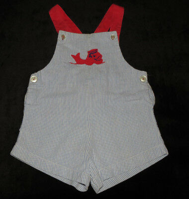 Vintage Baby Boy's Sunsuit Romper Overall Shorts Nautical