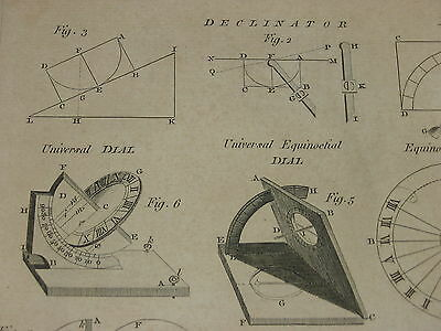 "18 Th Century / System Of ~ Dialling ~ Chart / 10 X 17"" / Declinator"