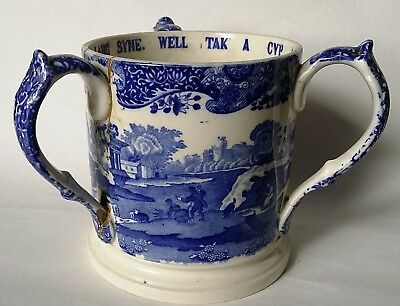 Early Copeland Spode Blue Italian Scene Large 3 Handled Love Cup / Tankard