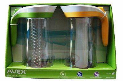 2x Avex Autoseal Pitcher Set | Infuser stick+Ice Core|2 Litre Water Jug New