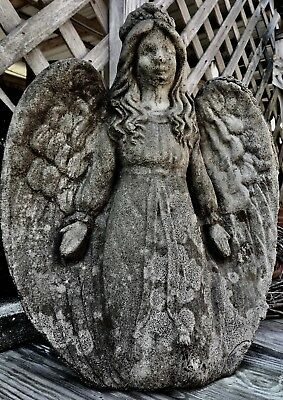 Old Angel Girl Circular Wings Garden Authentic Vintage Cement Concrete Statue