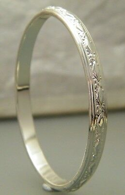 """Baby's Silver Diamond Pattern Solid Creola Bangle 48mm - 1 7/8"""" Plated"""