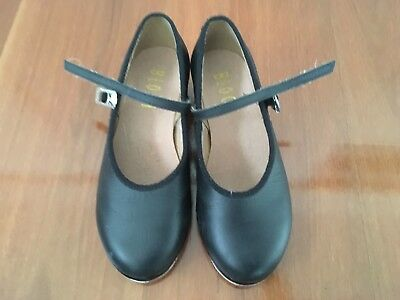Girl's Bloch Black Leather Tap Shoes Size 11.5