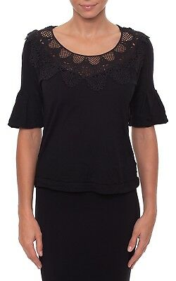 Metalicus Arabesque Lace Short Sleeve Top Tee - One Size - Grey Black Wool Blend