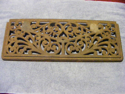 LARGE Antique 27x10 Victorian Scroll cast iron HINGED Grate register air return