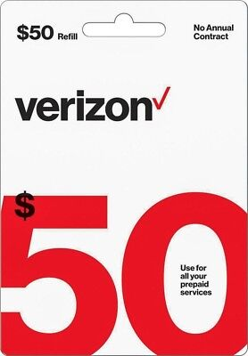 Verizon Wireless- $50 Refill,  Top-Up Air Time Card for Verizon Pre-Paid Service