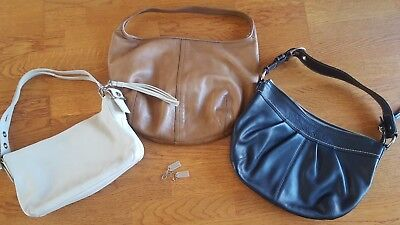 Lot of 3 Authentic COACH Leather Handbags, White Black Tan, EUC!!!