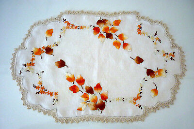 Beautifully Embroidered Doily Autumn Leaves Crocheted Edge Doily 44 X 28 Cm  Vgc