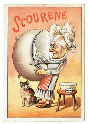 SCOURINE Soap - 1880's Vict Adv Trade Card - OLD LADY CLEANING KETTLE - RARE