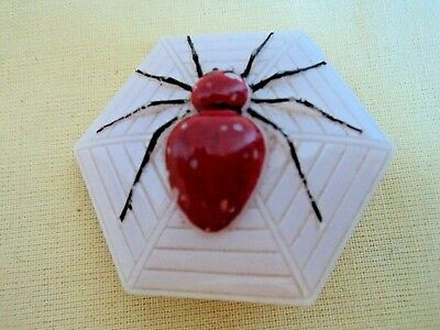 Vintage Glass brooch pink with red spider