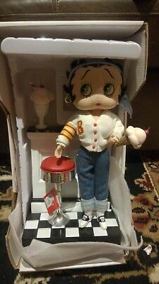 Betty Boop Doll Soft Sculpture Varsity Girl Design W/ Stand (Retired Item)