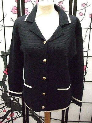 ~ Smart M&S Wool Blend Cardigan / Jacket ~ Navy With White Trim ~ Size 12    a3