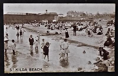 Vintage Postcard. St Kilda Beach. The Specialty Press. Melbourne. Paddling Etc.