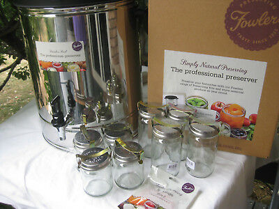 HEAVILY REDUCED NEW Fowlers Vacola STAINLESS STEEL Preserving Kit 8 jars