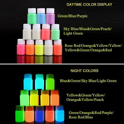 12 Colors Makeup Acrylic Face Body Luminous Painting Stage Glow in Dark Paint