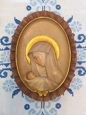 "Blessed Virgin Mary & Baby Jesus Relief Carved Wood Wall Plaque 9"" x 12"" Italy"