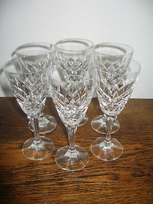 Bohemian  Set 6 Cut Crystal Stemmed Wine Glasses  Excon