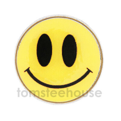 2 x Smiley Face Yellow GOLF BALL MARKER  - 25mm Metal