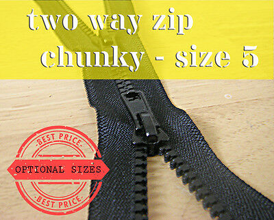 Black Chunky Zip Two Way Zip No5 Plastic Zipper Double Zip lengths 55 -95 cm