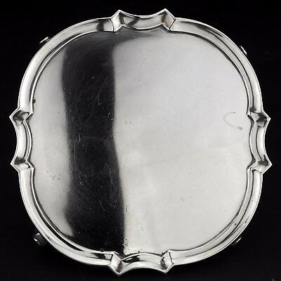 Antique Solid Sterling Silver Salver / Card Tray, London, 1936.