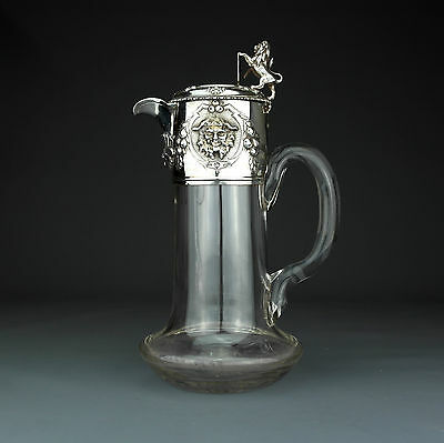 Antique Solid Sterling Silver & Cut Glass Claret Jug / Decanter, London 1858